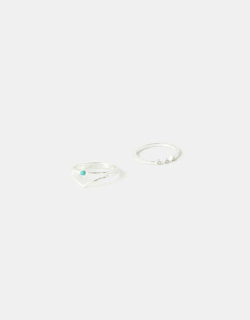 Turquoise Wishbone Ring Set, Blue (TURQUOISE), large