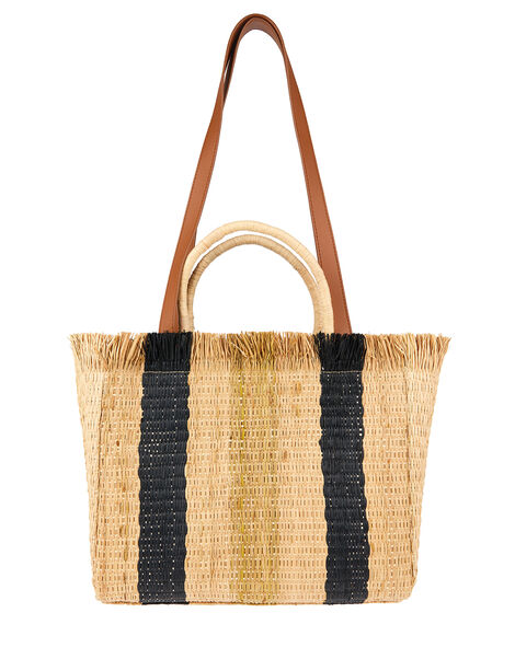 Striped Fringed Handheld Bag, , large