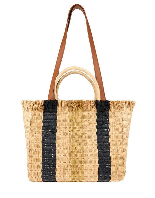 Striped Fringed Handheld Bag, , large