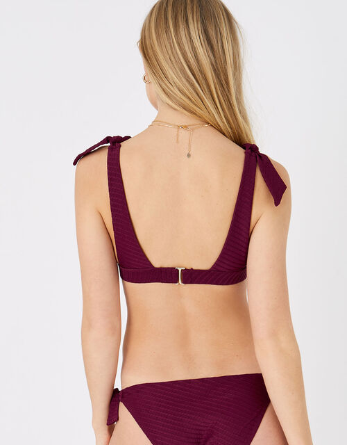 Knot Shoulder Triangle Bikini Top, Red (BURGUNDY), large