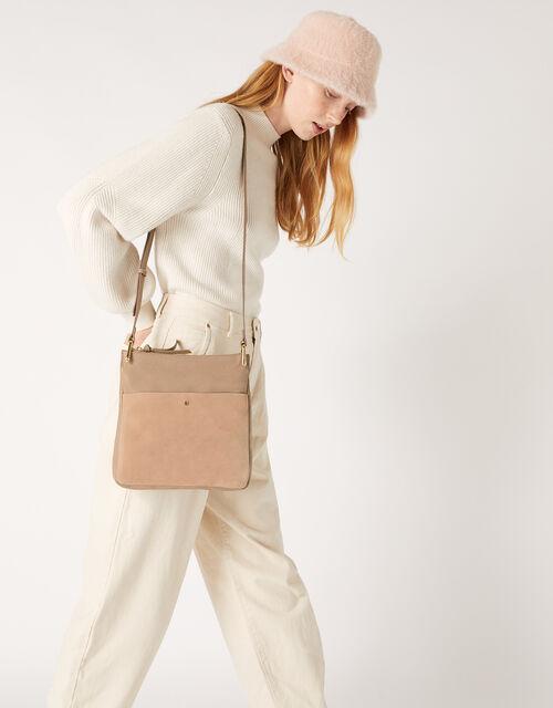Alessie Leather Zip Messenger Bag, , large