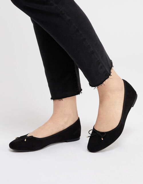 Sophia Bow Detail Ballerina Flats, Black (BLACK), large