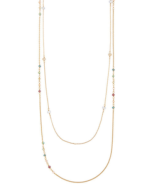 Gold-Plated Layered Chain Gem Rope Necklace, , large