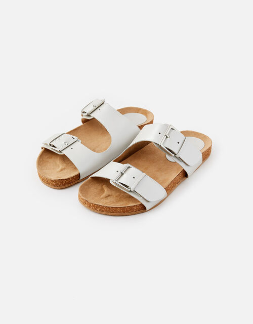 Buckle Footbed Leather Sandals , Silver (SILVER), large