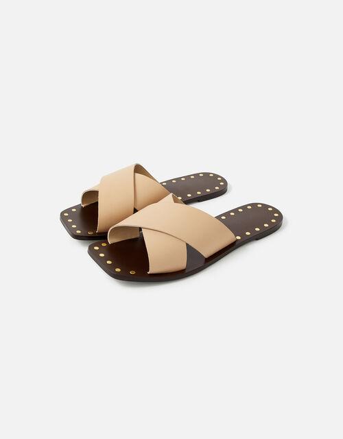 Crossover Studded Leather Sliders, Nude (NUDE), large