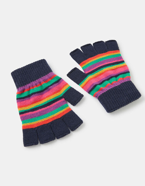 Stripe Fingerless Knit Gloves, Multi (BRIGHTS-MULTI), large