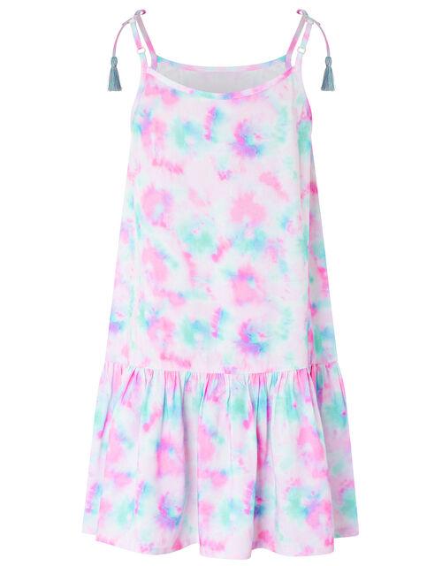 Tie Dye Tiered Dress, Pink (PINK), large