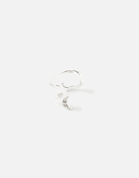 Sterling Silver Moon and Star Ear Cuff, , large