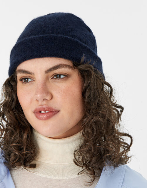 Knit Beanie in Cashmere, Blue (NAVY), large