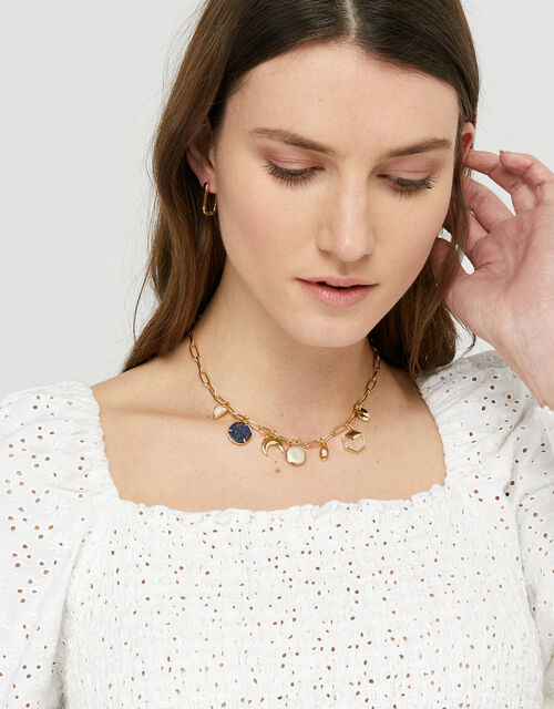 Gold-Plated Charmy Station Necklace, , large