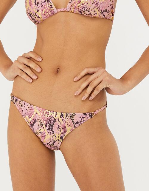 Snake-Print Metallic Bikini Briefs, Pink (PINK), large
