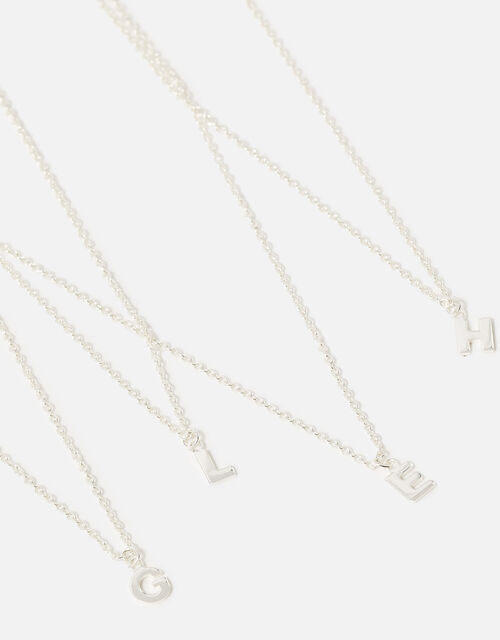 Sterling Silver Initial Pendant Necklace, Silver (ST SILVER), large