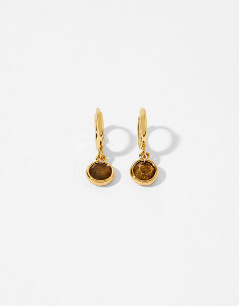 Gold-Plated Birthstone Earrings - October, , large