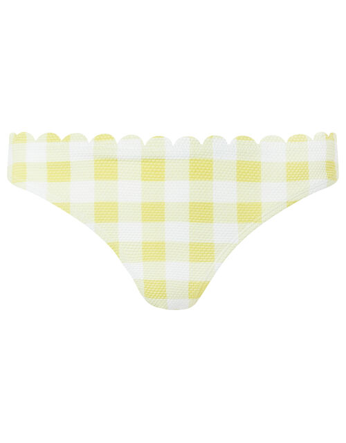 Sasha Gingham Scalloped Bikini Briefs, Yellow (YELLOW), large