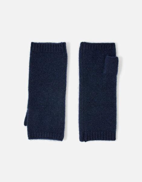 Longline Fingerless Gloves in Cashmere  Blue, Blue (NAVY), large