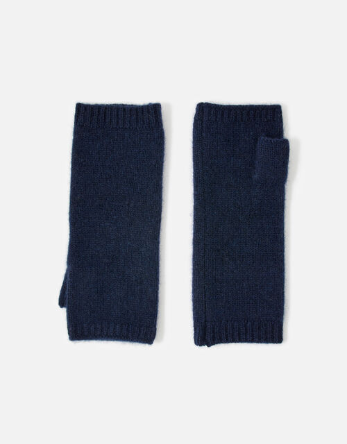 Longline Fingerless Gloves in Cashmere , Blue (NAVY), large