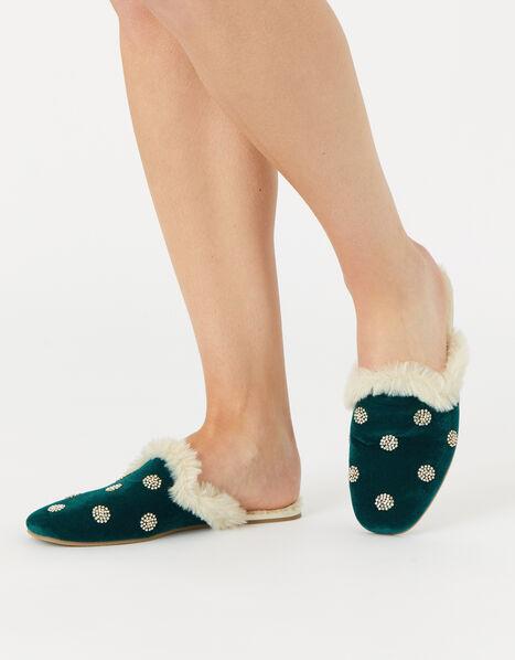 Embellished Spot Velvet Slippers Teal, Teal (TEAL), large