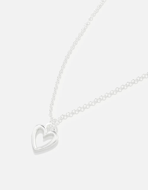 Sterling Silver Heart Necklace, , large