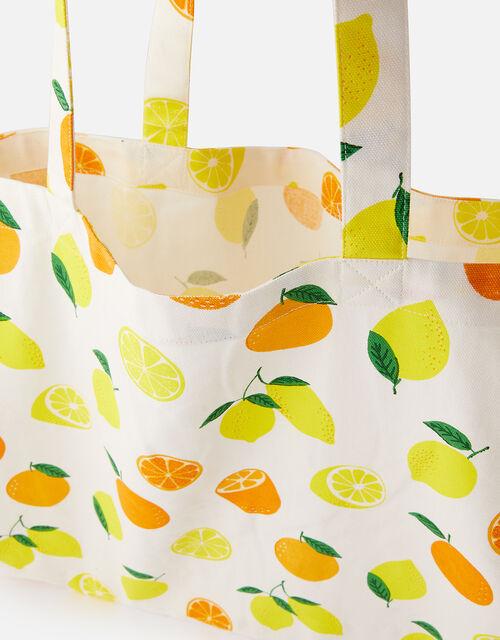 Lemon Print Canvas Shopper Bag , , large