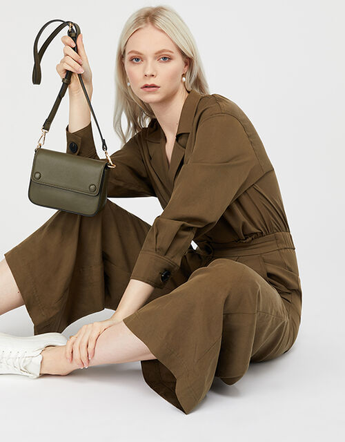 Faux Leather Belt Bag, Green (KHAKI), large