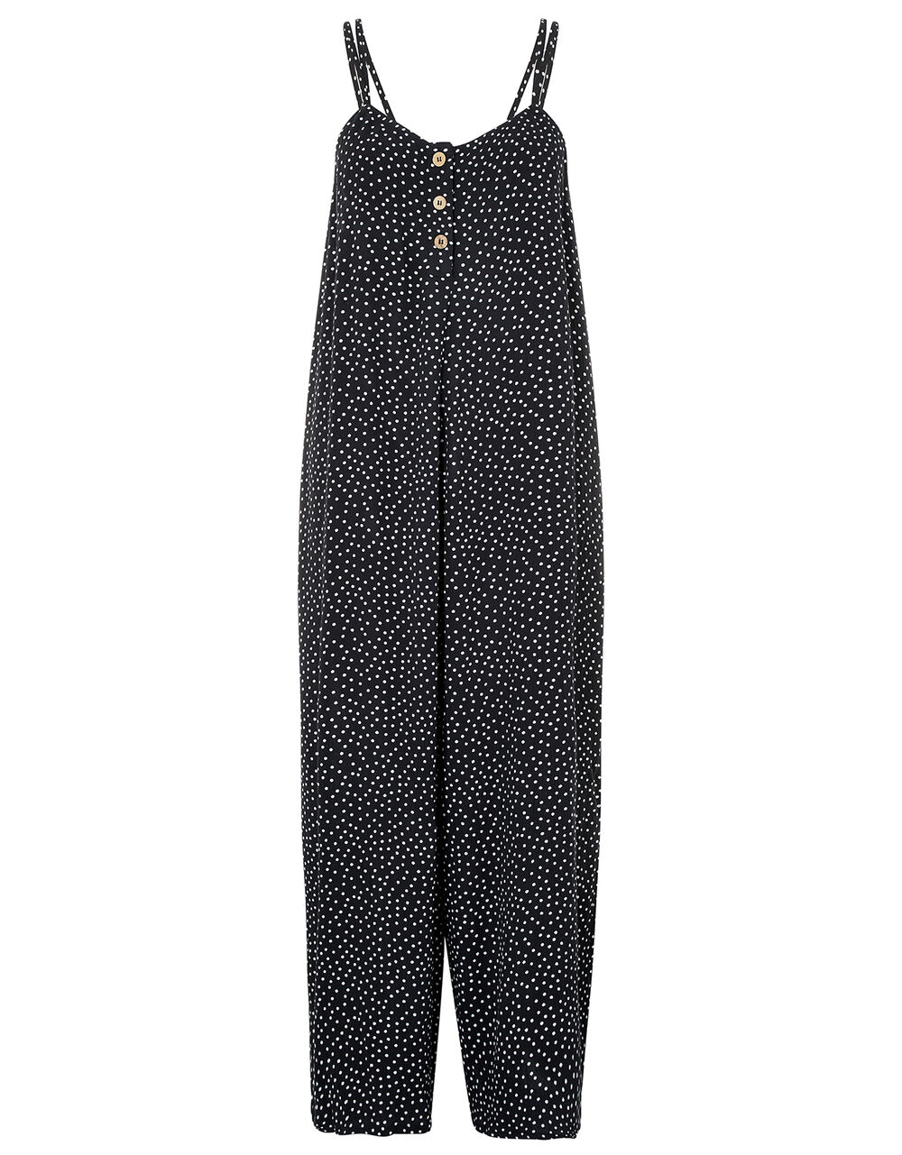 Polka Dot Relaxed Jumpsuit, Black (BLACK/WHITE), large