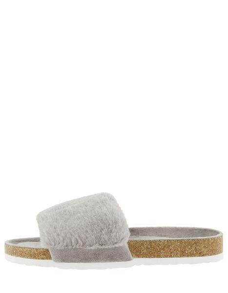 Fluffy Slider with Cork Base Grey, Grey (GREY), large