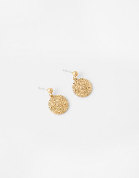 Flower Coin Short Drop Earrings, , large