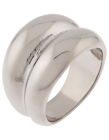 Double Chunky Ring with Recycled Metal Silver, Silver (SILVER), large