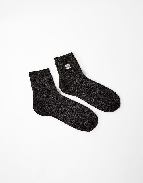 Snowflake Sparkle Ankle Socks, , large