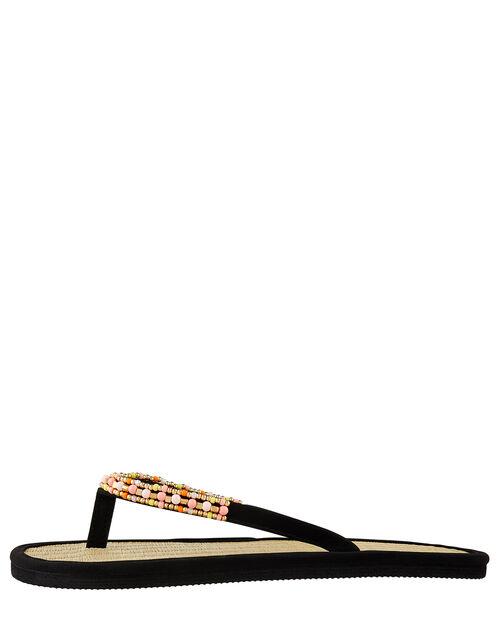 Beaded Seagrass Flip-Flops, Black (BLACK), large