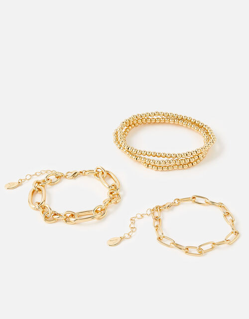 Reconnected Chain Bracelet Set , Gold (GOLD), large