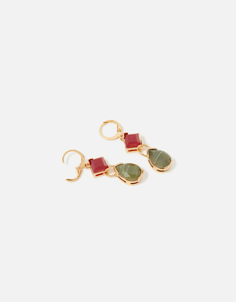 Berry Blush Long Gem Hoop Earrings, , large
