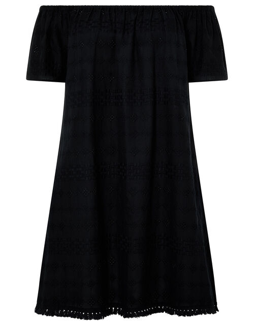 Off-Shoulder Schiffli Dress in Pure Cotton, Black (BLACK), large