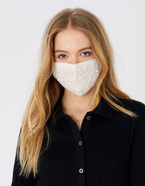 Sequin Lace Face Covering, , large