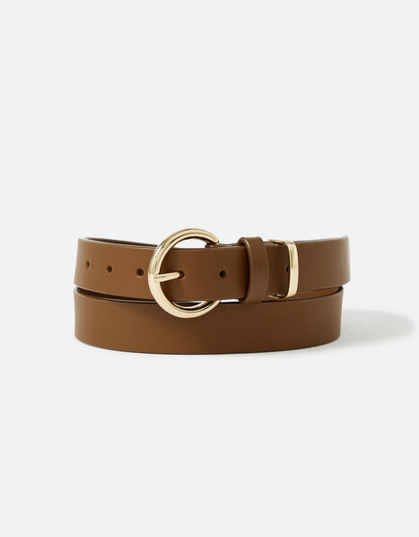 Round Buckle Leather Belt Tan, Tan (TAN), large