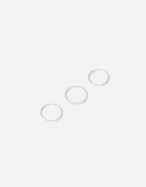 Sterling Silver Stacking Ring Set, Silver (ST SILVER), large