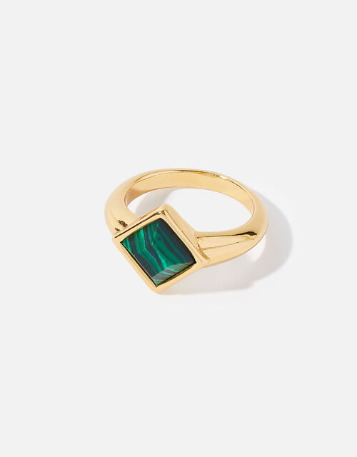 Gold-Plated Malachite Ring, Gold (GOLD), large