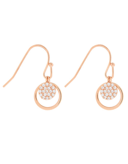 Rose Gold-Plated Sparkle Drop Earrings, , large
