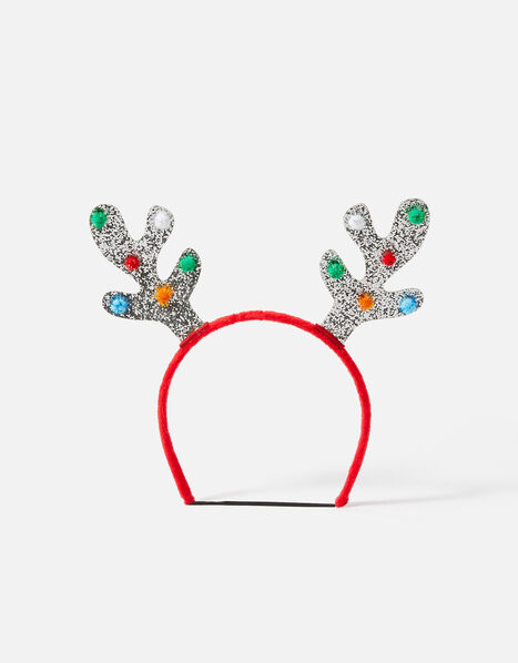 Glitter Antlers Headband Silver, Silver (SILVER), large