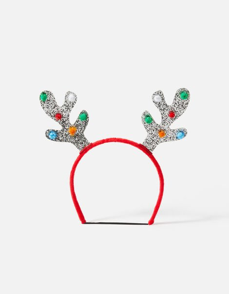 Dog Glitter Antlers Headband Silver, Silver (SILVER), large