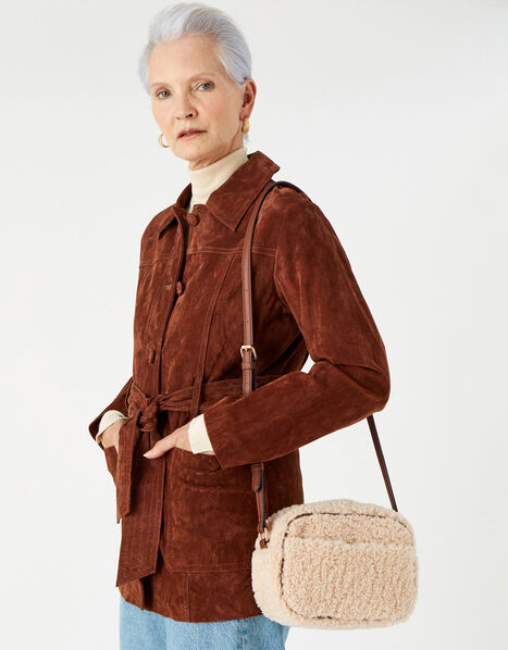 Faux Shearling Cross-Body Bag, , large