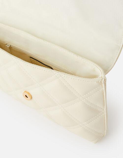 Stud Quilted Clutch , Cream (CREAM), large