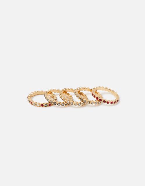 Berry Blush Bezel Eternity Ring Set, Red (BERRY), large