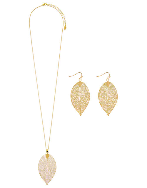 Leaf Pendant Necklace And Earrings Set, , large