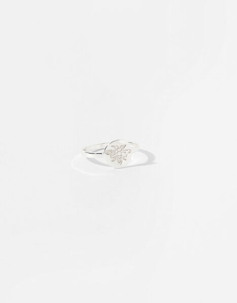 Sterling Silver Bee Signet Ring Silver, Silver (ST SILVER), large