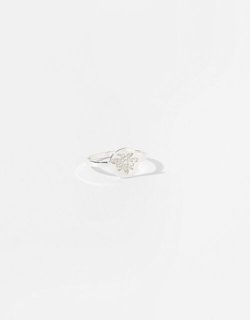 Sterling Silver Bee Signet Ring, Silver (ST SILVER), large