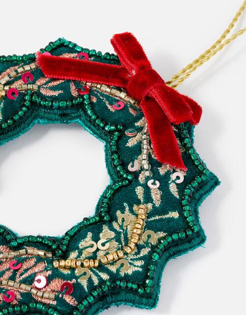 Embellished Christmas Wreath Hanging Decoration, , large