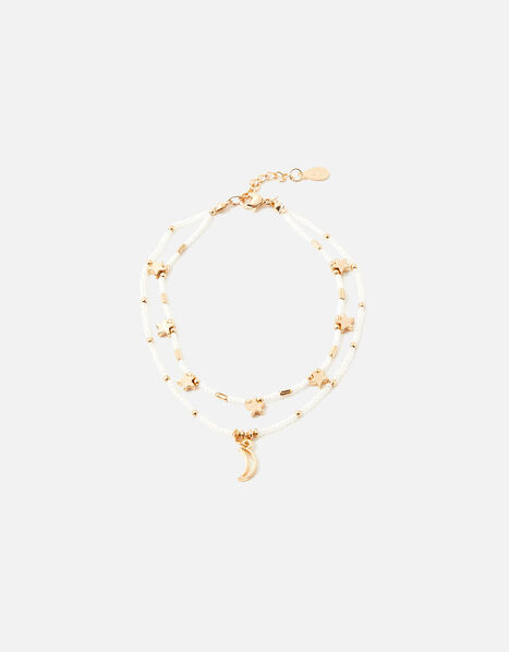Beaded Star and Moon Layered Anklet, , large