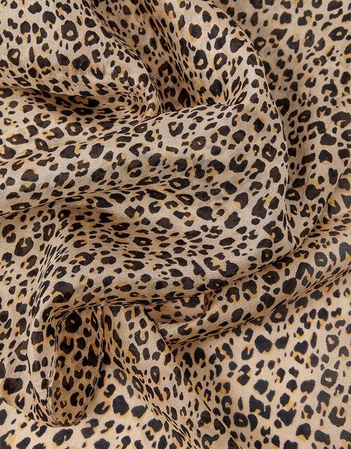 Leopard Print Scarf in Pure Silk, , large
