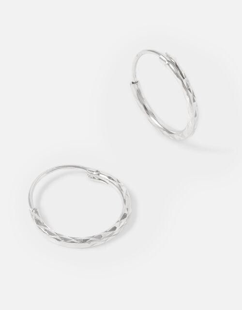 Sterling Silver Textured Huggie Hoops, , large